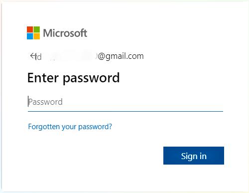 Enter password on microsoft