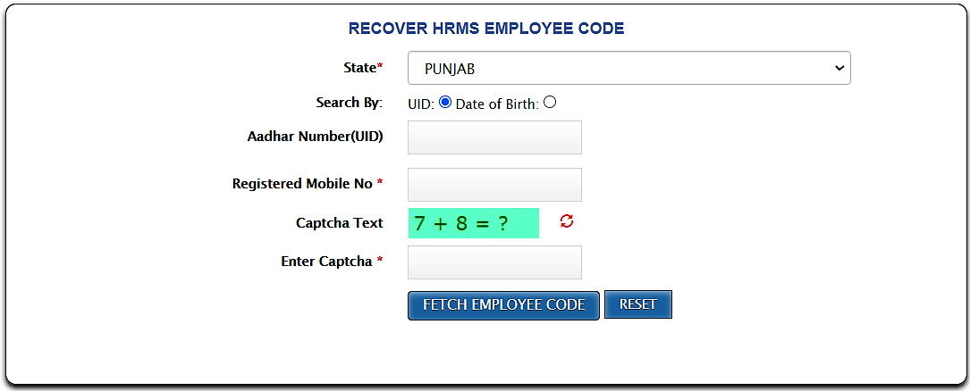 Employee code on iHRMS Punjab