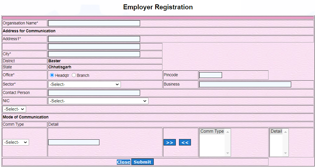 employer registration at www.exchange.cg.nic.in