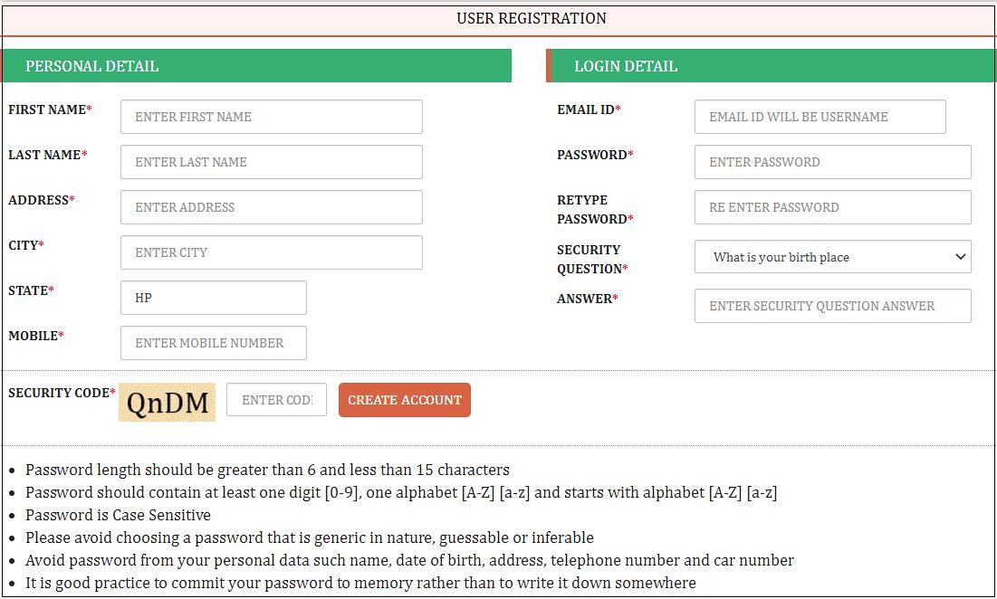 Himkosh User Registration Process
